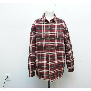 LL Bean Small Flannel Shirt Jacket Red Long Sleeve